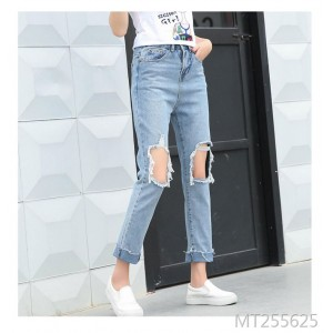 Korean Spring and Summer Fashion Loose Size Leisure New Waist Beggars Hole Trousers and Jeans