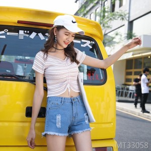 Cool sexy fur-trimmed women's jeans at the high waist fashion Baitao Night Club in the summer of 2019