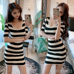 2009 Summer Stripe Sleeve Slim Dress Slim Button Bottom Skirt
