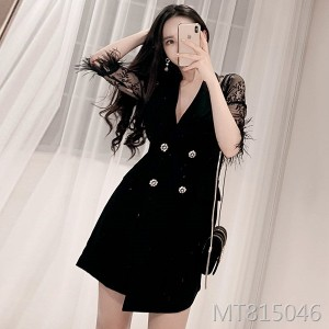201 new Korean style suit with lace collar and buttock dress