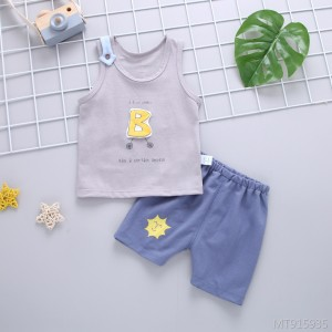 Boys and girls 1-2 year old summer dress outing casual short-sleeved shorts two-piece T-shirt trousers suit