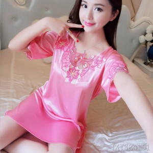 Summer short-sleeved sexy temptation court-style lace nightdress
