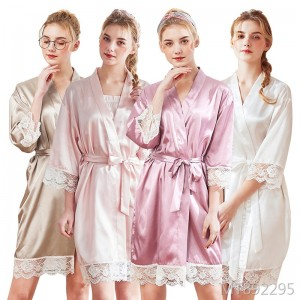 Spring nine-point sleeve silk home dressing gown