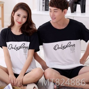 Summer short-sleeved milk silk couple pajamas two-piece thin section