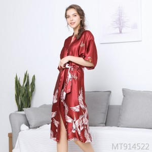 Summer long bridesmaid red bride morning gown home robe