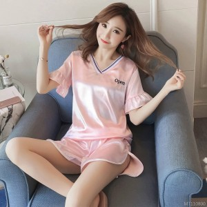 New cool breathable short-sleeved sexy V-neck simulation silk ladies pajamas