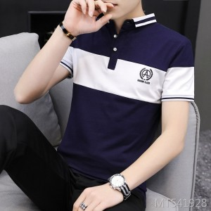 2019 new men's stitching lapel short-sleeved T-shirt