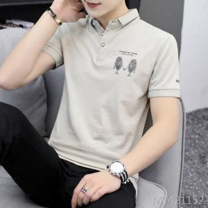 2019 new lapel solid color T-shirt