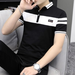 2019 summer new business straight lapels men's short-sleeved T-shirt