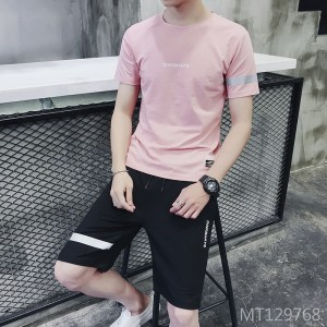 2019 new Korean version of the trend of short-sleeved men's two-piece