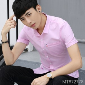 2019 new youth business mature literary temperament solid color shirt