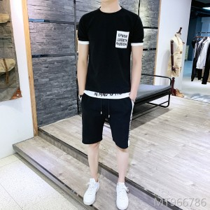 2019 Summer Short Sleeve Set Men's Shorts T-Shirt Two-Piece Set
