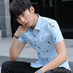 2019 summer new casual men's slim shirt