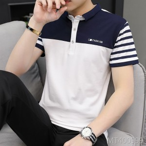2019 new summer striped business short-sleeved mature t-shirt