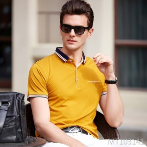2019 spring and summer new short-sleeved men's t-shirt men's solid color slim men's polo shirt