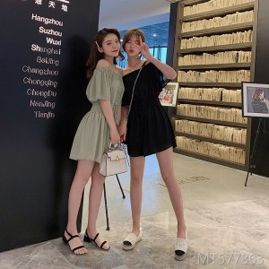 2019 new Korean version of the summer strapless straps jumpsuit wide-leg pants skirt