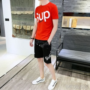 2019 new men's t-shirt casual two-piece suit