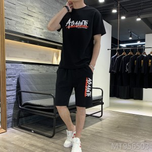 2019 new Korean version of the round neck short-sleeved T-shirt suit