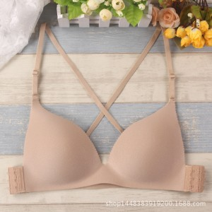 2019 new sexy triangle cup without steel ring beauty back cross bra