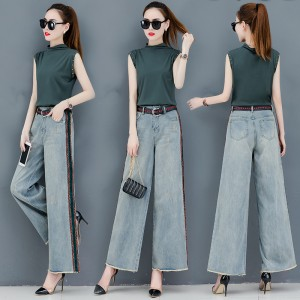 2019 new sleeveless top + wide leg jeans suit