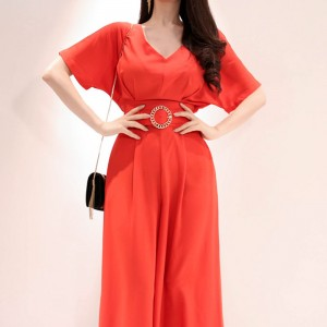 2019 new Korean version of temperament waist casual wide leg trousers jumpsuit