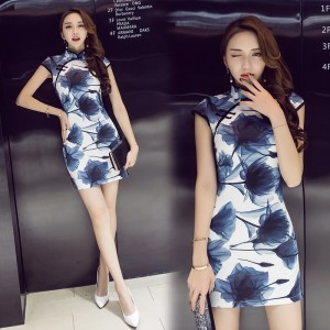 2019 fashion sexy slim slimming cheongsam waisted ink dress