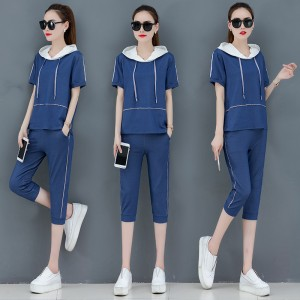 2019 summer new knit denim short-sleeved cropped trousers casual suit