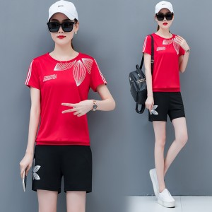 2019 new loose quick-drying short-sleeved T-shirt two-piece suit