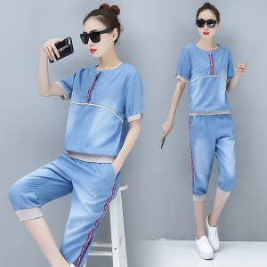 2019 cropped trousers casual sports suit