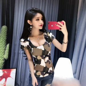 2019 new nightclub sexy U-neck slim short-sleeved t-shirt
