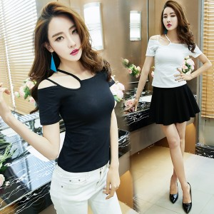 2019 new sexy word collar shoulder strap off-shoulder Slim T-shirt