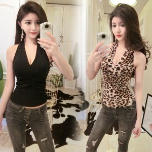 2019 Leopard-studded sexy V-neck tight-fitting slim sleeveless vest