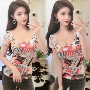 2019 new Korean sexy slim nightclub slim short-sleeved t-shirt