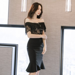 2019 new Korean version of the slim lace top waist skirt suit