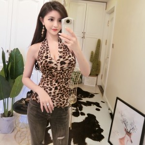 2019 new leopard-studded sexy low-cut vest