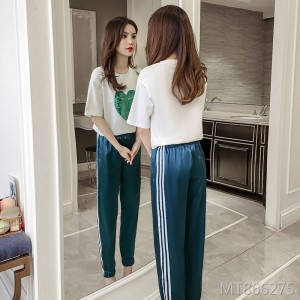 2019 summer Korean version of the fashion loose short-sleeved trend two-piece