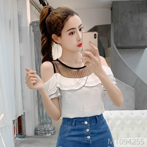2019 new slim slimming mesh off-the-shoulder chiffon shirt