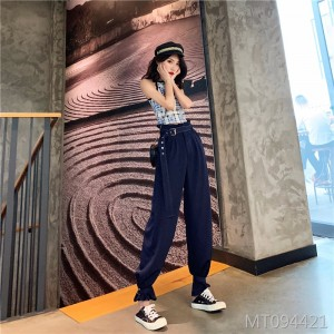2019 new sleeveless plaid vest + thin section high waist harem pants with belt