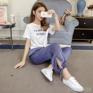 2019 summer new Korean casual T-shirt + radish trousers two-piece