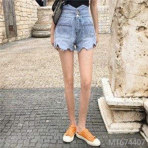 2019 new ultra-high waist light two-button slim denim shorts
