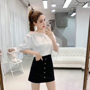 2019 new off-shoulder top + skirt two-piece suit
