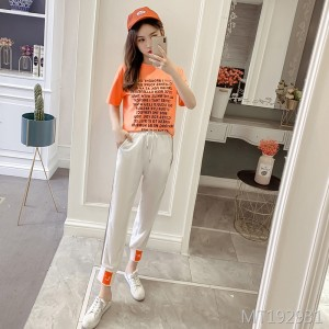 2019 new fashion loose short-sleeved temperament two-piece set