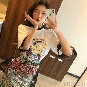 2019 new lace collar stitching short-sleeved T-shirt + sequined skirt