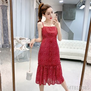 2019 female v-neck waist slimming love wave dress