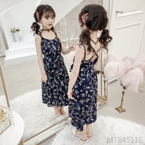 2019 new chiffon floral blue print national wind dress