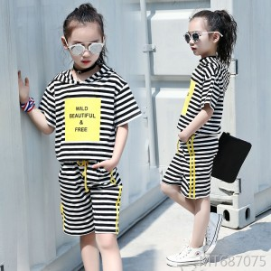 2019 new summer casual striped short-sleeved five-pants two-piece suit