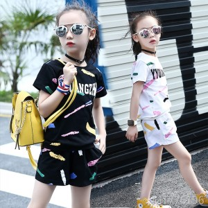 2019 new summer casual doodle short-sleeved T five pants shorts two-piece