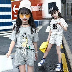 2019 new casual cotton short-sleeved shorts two-piece suit