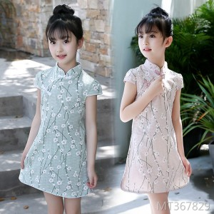 2019 new short-sleeved cheongsam cotton and linen vintage dress