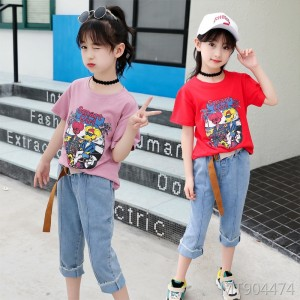 2019 new children's clothing girls short-sleeved cropped trousers suit